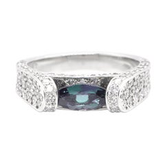 0.70 Carat, Natural, Alexandrite and Diamond Estate Ring Set in Platinum