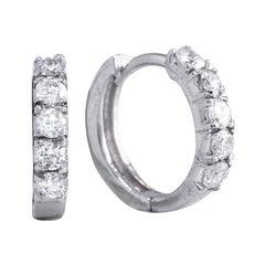 0.70 Carat Natural Diamond 14 Karat Solid White Gold Hoop Earrings
