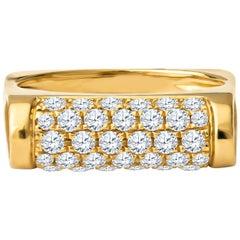 0.70 Carat Pave Diamond 18 Karat Yellow Gold Bar Ring
