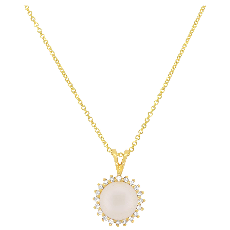 0.70 Carat Pearl and Diamond Pendant
