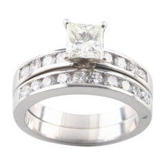 0.70 Carat Princess Diamond Wedding Ring Set in Platinum with Accents