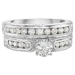0.70 Carat Round Brilliant Diamond Baroque Style Engagement Ring Set