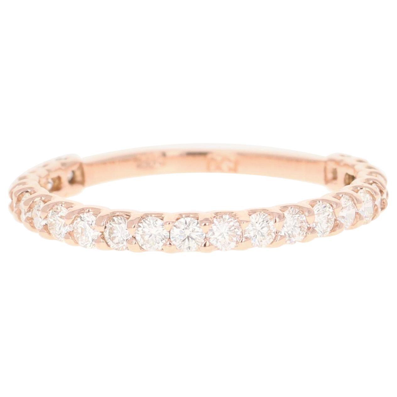 0.70 Carat Round Cut Diamond 14 Karat Rose Gold Band