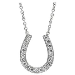 0.70 Carat Round Diamond Horse Shoe Pendant Necklace