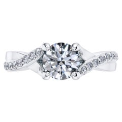 0.70 Carat Round Diamond Twisted 18 Karat White Gold 4 Prong Engagement Ring