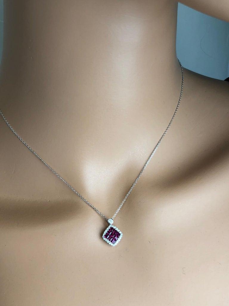 Contemporary 0.70 Carat Ruby Cluster Square and 0.19 Carat Diamond Pendant in 18 Karat Gold For Sale