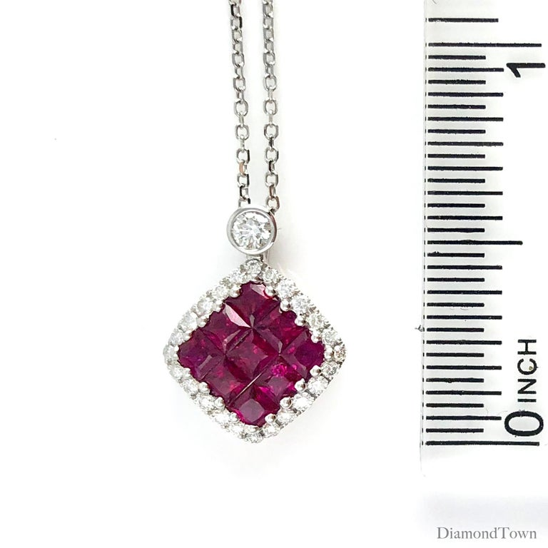 0.70 Carat Ruby Cluster Square and 0.19 Carat Diamond Pendant in 18 Karat Gold In New Condition For Sale In New York, NY