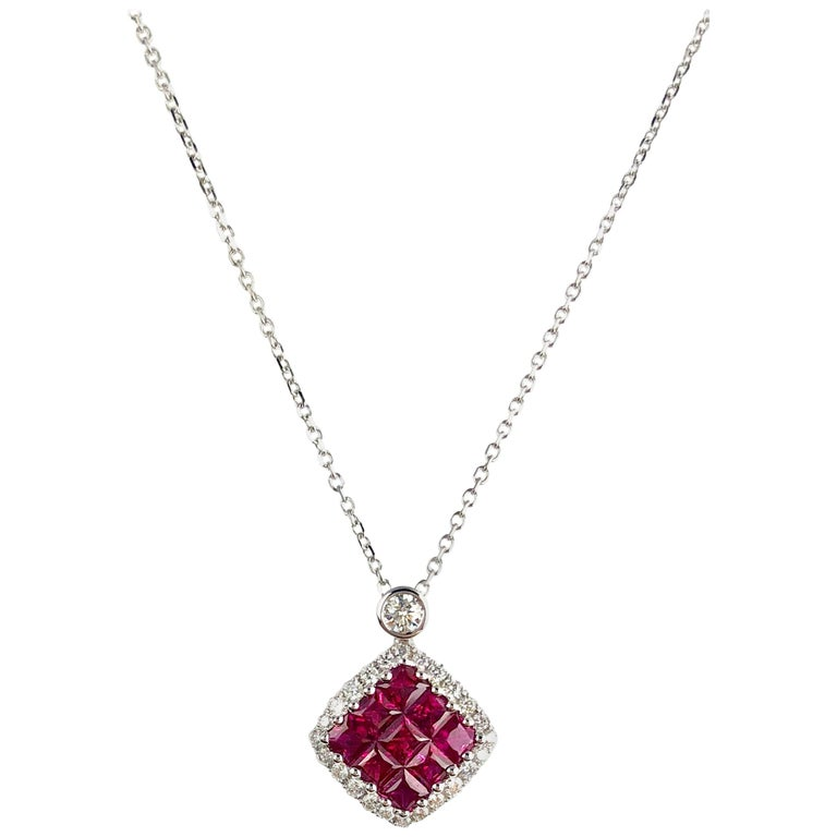 0.70 Carat Ruby Cluster Square and 0.19 Carat Diamond Pendant in 18 Karat Gold For Sale