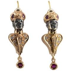 0.70 Carat Ruby Tsavorite Pearl Diamond Yellow Gold Stud Moor of Venice Earrings