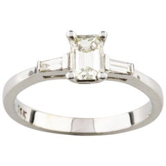 0.70 Carat Three-Stone Diamond 14 Karat White Gold Engagement Ring