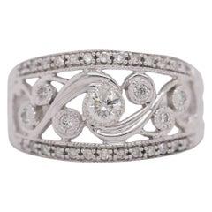 0.70 Carat Vintage Round Diamond Ring Set in 14 Karat White Gold