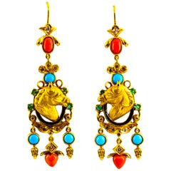 0.70 Carat White Diamond Emerald Coral Turquoise Yellow Gold Horse Drop Earrings
