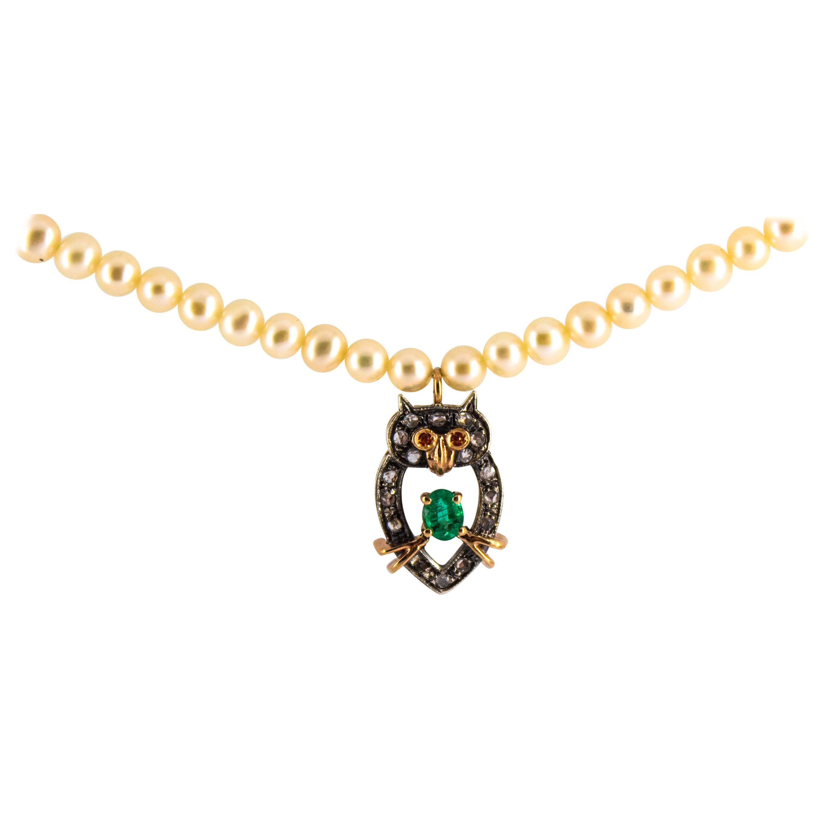 0.70 Carat White Diamond Emerald Pearl Yellow Gold Owl Pendant Beaded Necklace