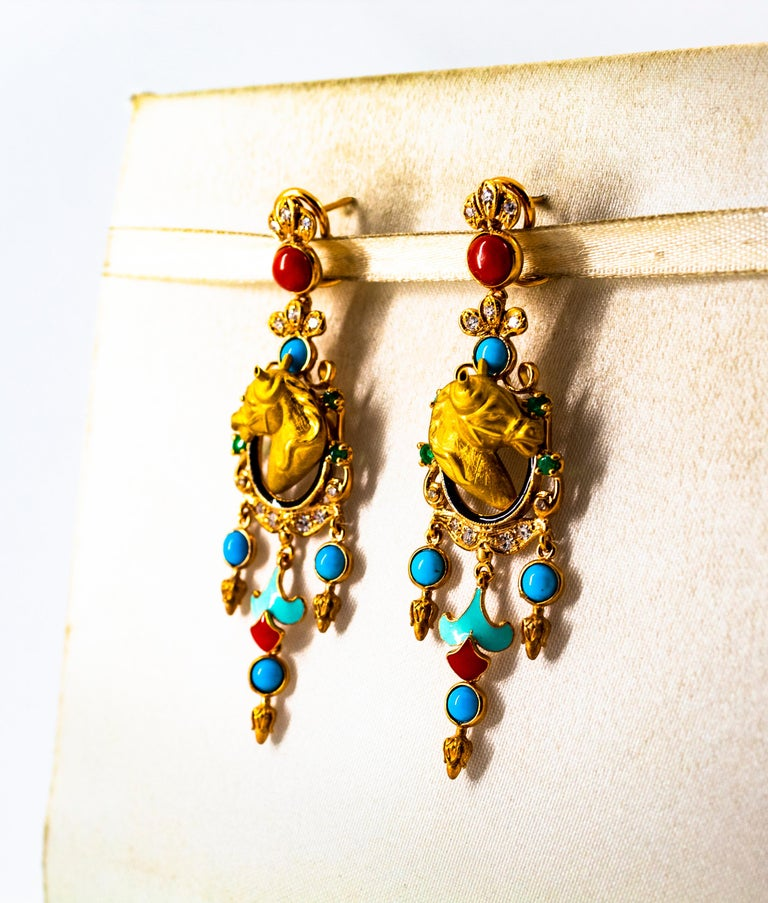 0.70 Carat White Diamond Emerald Turquoise Coral Yellow Gold Horse Drop Earrings In New Condition For Sale In Naples, IT