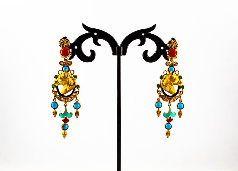 Women's or Men's 0.70 Carat White Diamond Emerald Turquoise Coral Yellow Gold Horse Drop Earrings For Sale