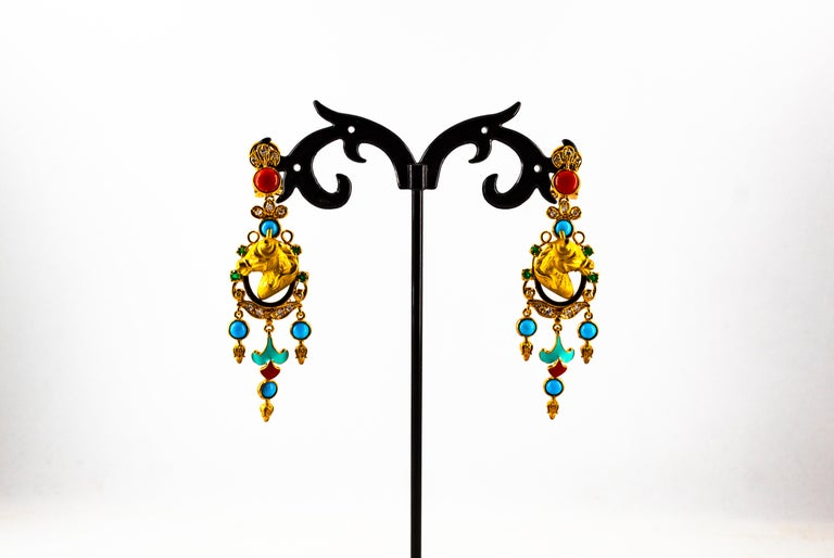 0.70 Carat White Diamond Emerald Turquoise Coral Yellow Gold Horse Drop Earrings For Sale 1