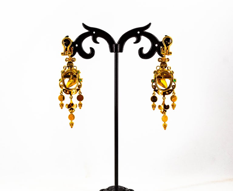 0.70 Carat White Diamond Emerald Turquoise Coral Yellow Gold Horse Drop Earrings For Sale 3