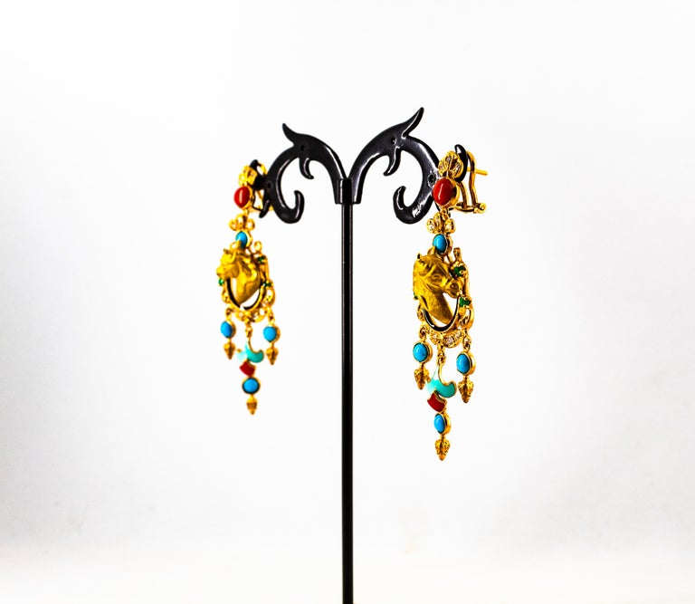0.70 Carat White Diamond Emerald Turquoise Coral Yellow Gold Horse Drop Earrings For Sale 4
