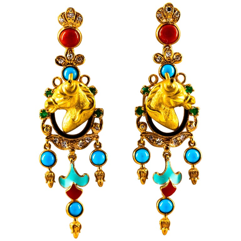 0.70 Carat White Diamond Emerald Turquoise Coral Yellow Gold Horse Drop Earrings For Sale