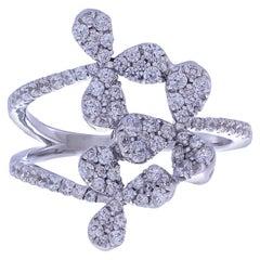 0.70 Carat White Diamond Pave Ring with 18 Karat White Gold Floral Design Ring