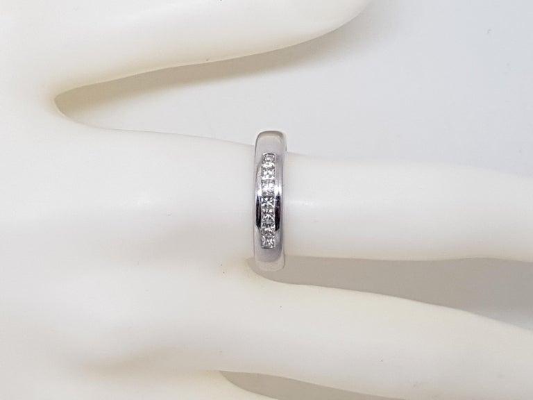 0.70 Carat White Gold Diamond Memory Eternity Ring For Sale 5
