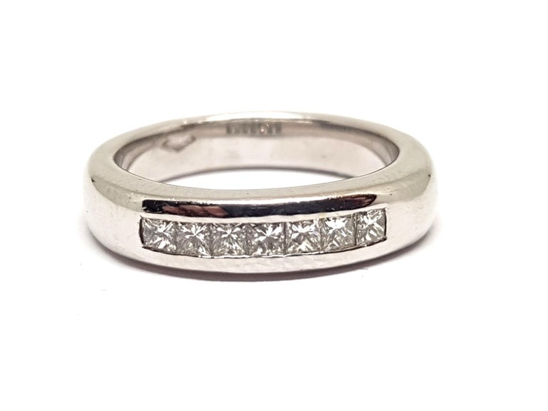 Gold: 18 Karat White Gold  Weight: 7.47gr.  Diamonds: 0.70 ct. Colour: E Clarity: VVS1 Width: 0.3 cm.  Ring size: 53 / 17.00mm  Free resizing of Ring up to size 70 / 22mm / US 13 All our jewellery comes with a certificate and 5 years guarantee