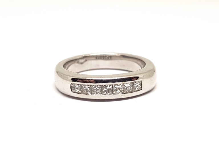 Contemporary 0.70 Carat White Gold Diamond Memory Eternity Ring For Sale
