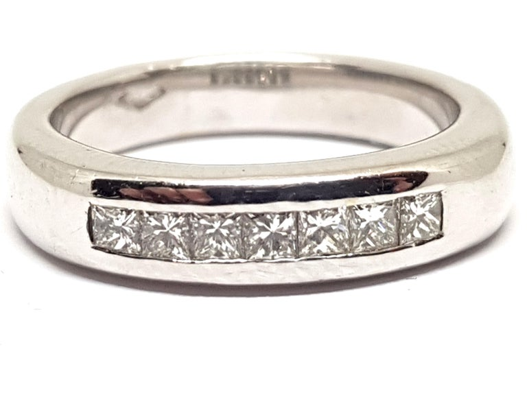 Round Cut 0.70 Carat White Gold Diamond Memory Eternity Ring For Sale