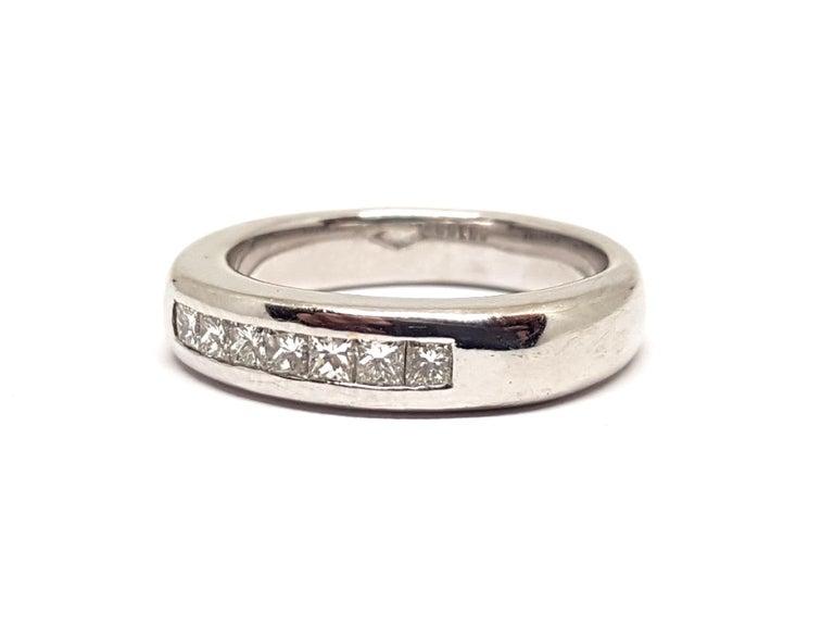 Women's 0.70 Carat White Gold Diamond Memory Eternity Ring For Sale