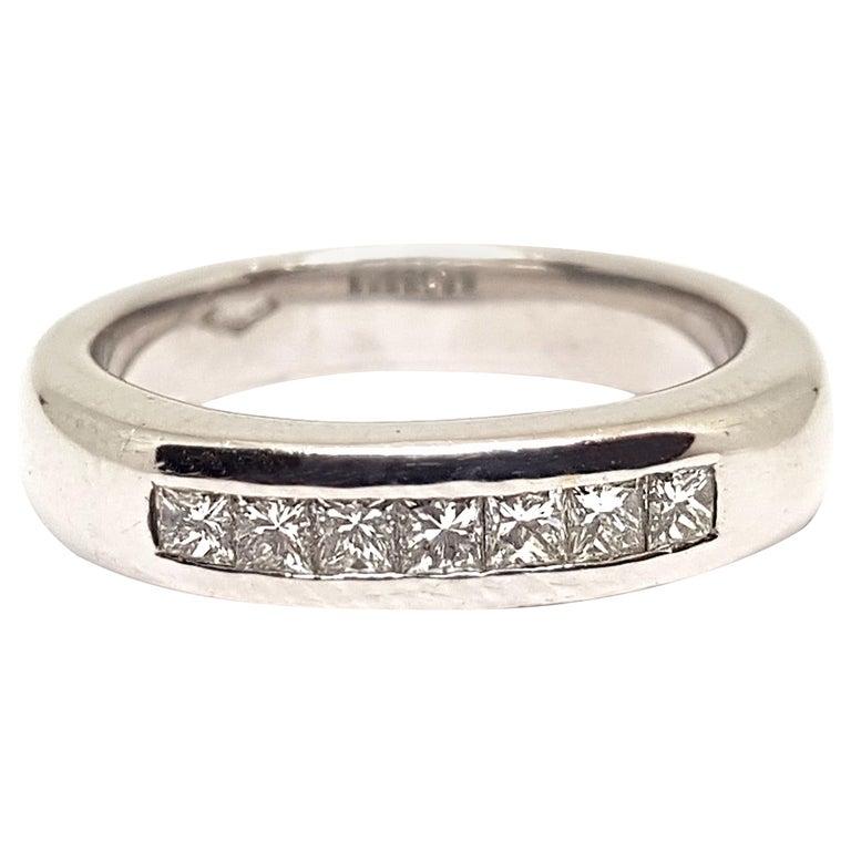 0.70 Carat White Gold Diamond Memory Eternity Ring For Sale
