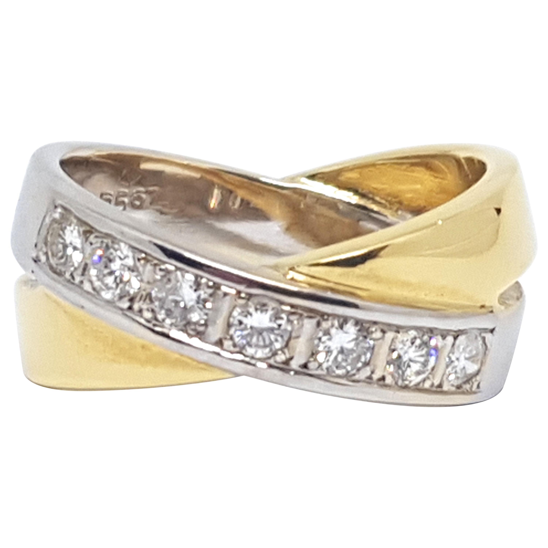 0.70 Carat Yellow White Gold Diamond Ring