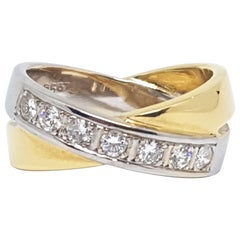 0.70 Carat Yellow White Gold Diamond Ring