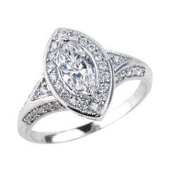 0.70 Carat Marquise Cut Diamond Engagement Ring in 14 Karat White Gold