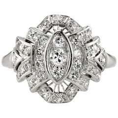 0.70 Carat Old European Cut Diamond Ring Set in Platinum, circa 1930