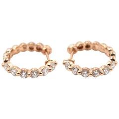 0.71 Carat Diamond 18 Karat Rose Gold Huggie Earrings