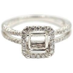 0.71 Carat Diamond 18 Karat White Gold Semi-Mount Engagement Ring