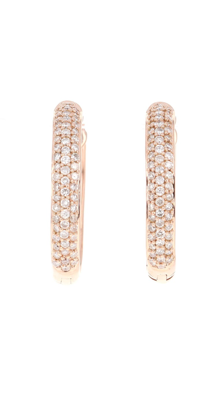 122 Round Cut Diamonds/0.71 Carats  14 Karat Rose Gold, 5.9 grams   0.75 inches long or 23 mm wide and 22 mm long