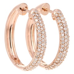 0.71 Carat Diamond Hoop Earrings 14 Karat Rose Gold