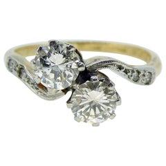 0.71 Carat Diamond Two-Stone Ring, Diamond Shoulders