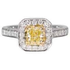 0.71 Carat Fancy Yellow Halo Diamond Ring