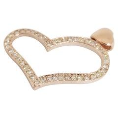 0.71 Carat Heart Shape Rose Gold Pendant 14 Karat