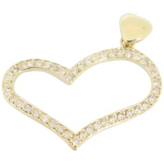 0.71 Carat Heart Shape Yellow Gold Pendant 14 Karat