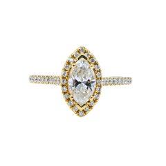 0.71 Carat Marquise 14 Karat Yellow Gold Halo Diamond Engagement Ring