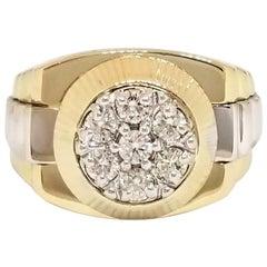 0.71 Carat Men's Diamond Two-Tone Gold Watch Style Ring