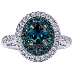 0.71 Carat Natural Brazilian Alexandrite and Diamond Ring, 18 Karat White Gold
