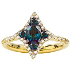 0.71 Carat Natural Brazilian Alexandrite and Diamond Ring, 18 Karat Yellow Gold