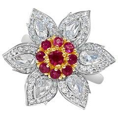 0.71 Carat Natural Burmese Ruby and 1.27 Rose Cut Diamond Ring, 18 Karat