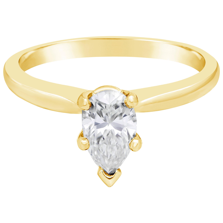 Roman Malakov, 0.71 Carat Pear Shaped Diamond Solitaire Engagement Ring