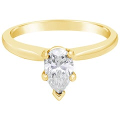 0.71 Carat Pear Shaped Diamond Solitaire Engagement Ring