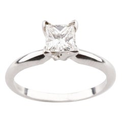 0.71 Carat Princess Cut Diamond Solitaire 14 Karat White Gold Engagement Ring